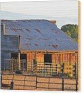 Old Barn At Sunset Wood Print