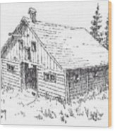Old Barn Cable Ghost Town Montana Wood Print
