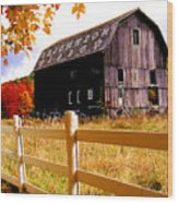 Old Barn In Autumn Wood Print