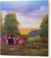 Old Barn In The Meadow Wood Print