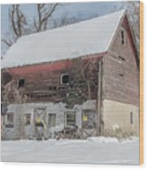 Old Barn In Upper Roxborough In The Snow Wood Print