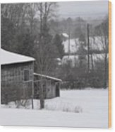 Old Barn In Winter Scenery Wood Print