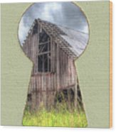Old Barn Keyhole Wood Print