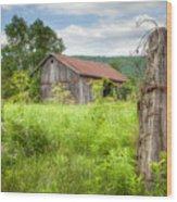 Old Barn Near Stryker Rd. Rustic Landscape Wood Print