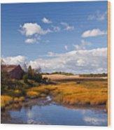 Old Barn On Salt Marsh Edge #2 Wood Print