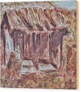 Old Barn Outhouse Falling Apart In Decay And Dilapidation Rotting Wood Overgrown Mountain Valley Sce Wood Print