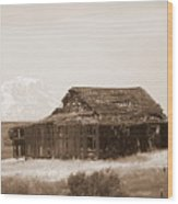 Old Barn With Mount Adams In Sepia Wood Print