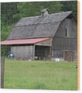 Old Barn With Red Leanto  Washington State Wood Print