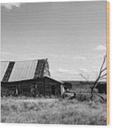 Old Barn With Tree Wood Print