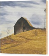 Old Barn With Windmill Wood Print