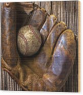 Old Baseball Mitt And Ball Wood Print