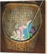 Old Basket New Yarn Wood Print