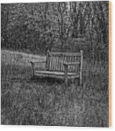 Old Bench Concord Massachusetts Wood Print