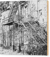 Old Black And White House  Wood Print