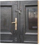 Old Black Closed Door Wood Print
