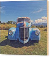 Old Blue Truck Vermont Wood Print