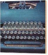 Old Blue Typewriter Wood Print
