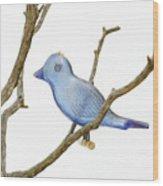 Old Bluebird Ornament Wood Print