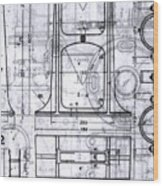 Old Blueprints Wood Print
