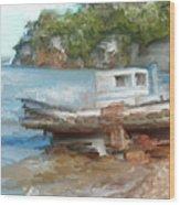 Old Boat At China Camp Wood Print