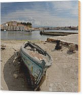 Old Boat In Crete Wood Print