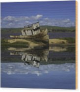 Old Boat Reflection Wood Print