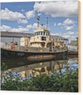Old Boats Along The Exeter Canal 2 Wood Print