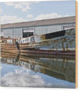 Old Boats Along The Exeter Canal Wood Print