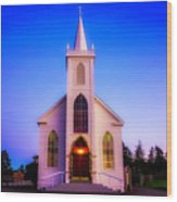 Old Bodega Church Sunset Wood Print