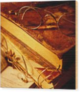 Old Books And Glasses Wood Print by Garry Gay