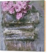 Old Books And Pink Roses Wood Print