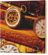 Old Books And Pocket Watches Wood Print