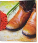 Old Boots And Daisy Wood Print
