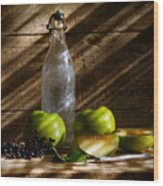 Old Bottle With Green Apples Wood Print