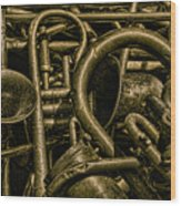 Old Brass Musical Instruments Wood Print