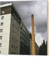 Old Brick Chimney Amongst Modern Office Buildings Near The Railway Station Perugia Umbria Italy Wood Print