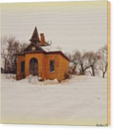Old Brick Schoolhouse In Winter Wood Print
