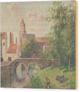 Old Bridge In Bruges  Wood Print by Camille Pissarro