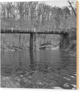 Old Brige In The Fall Wood Print