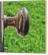 Old Brown Doorknob Wood Print