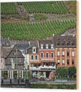 Old Buildings And Vineyards Wood Print