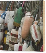 Old Buoys Hanging Out Wood Print