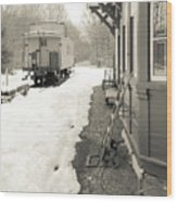 Old Caboose At Period Train Depot Winter Wood Print