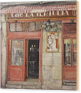 Old Cafe- Santander Spain Wood Print