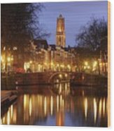Old Canal And Dom Tower In Utrecht In The Evening 16 Wood Print