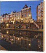 Old Canal In Utrecht At Dusk 211 Wood Print