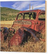 Old Car At Susanville Ranch Wood Print