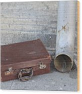 Old Cardboard Suitcase In The Street Wood Print