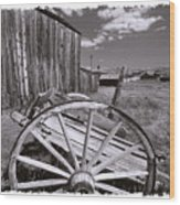 Old Cart And Building Bodie California Wood Print