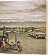 Old Case Tractor Wood Print